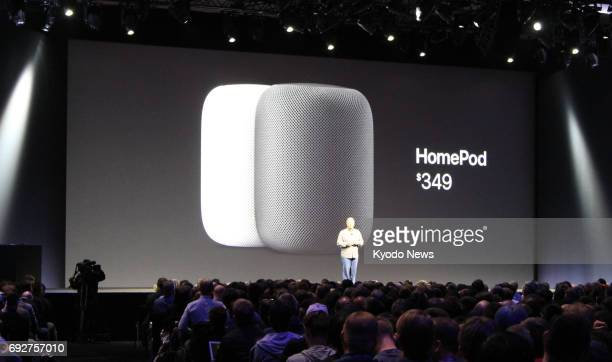 Apple Inc introduces the HomePod voicecontrolled speaker in San Jose California on June 5 taking on early leaders Amazon and Google The speaker is...