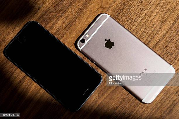Apple Inc iPhone 6s smartphones are arranged for a photograph in Hong Kong China on Friday Sept 25 2015 The latest models following last year's...