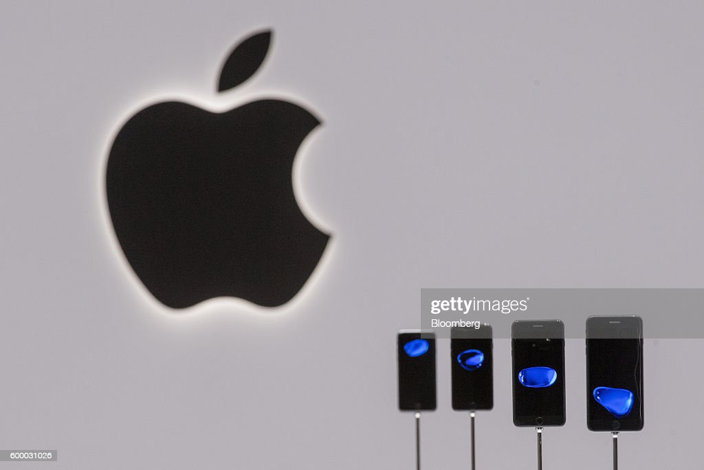 Apple Inc. iPhone 7 and 7 Plus smartphones are displayed during an event in San Francisco, California, U.S., on Wednesday, Sept. 7, 2016.Apple Inc. unveiled new iPhone models Wednesday, featuring a water-resistant design, upgraded camera system and faster processor, betting that after six annual iterations it can still make improvements enticing enough to lure buyers to their next upgrade. Photographer: David Paul Morris/Bloomberg via Getty Images