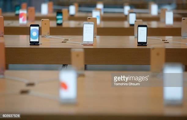 Apple Inc iPhone 7 and iPhone 7 Plus devices are displayed at the company's Omotesando store on September 16 2016 in Tokyo Japan Apple's iPhone 7 and...