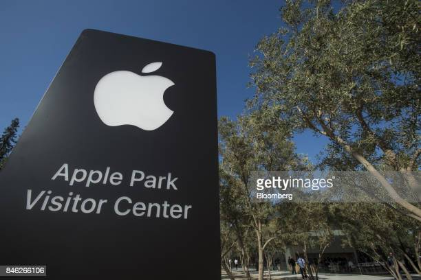 Apple Inc signage stands on the Apple campus after an event in Cupertino California US on Tuesday Sept 12 2017 Apple unveiled its most important new...