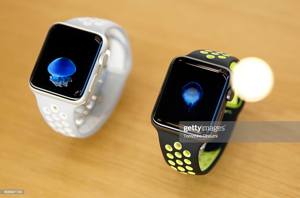 Apple Inc.'s Apple Watch Series 2 devices are displayed at the company's Omotesando store on September 16, 2016 in Tokyo, Japan. Apple's iPhone 7 and Apple Watch Series 2 go on sale in Japan today.