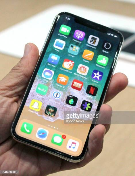 Apple Inc's new flagship iPhone X is unveiled at a launch event in Cupertino California on Sept 12 2017 ==Kyodo