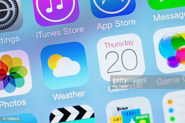 apple ios7 icon - weather calendar - calendar icon stock photos and pictures