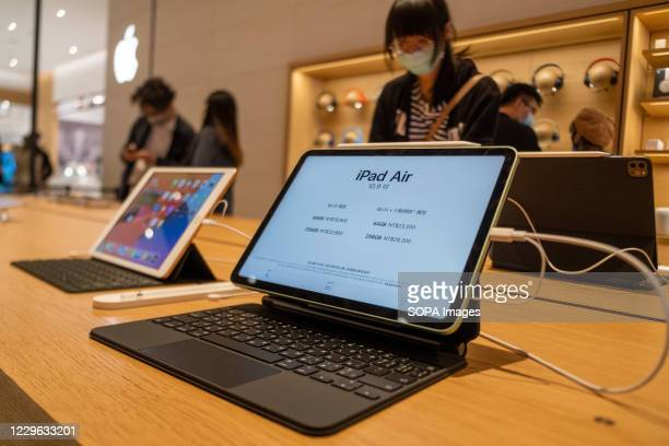 Apple iPad Air seen on display at an Apple store after the launch of the new iPhone 12 series smartphones.