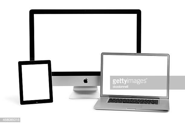 Apple iPad iMac and MackBook Pro on White