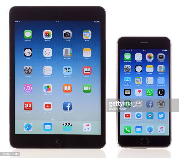 apple ipad mini and iphone 6 plus on white background - phone icon stock pictures, royalty-free photos & images