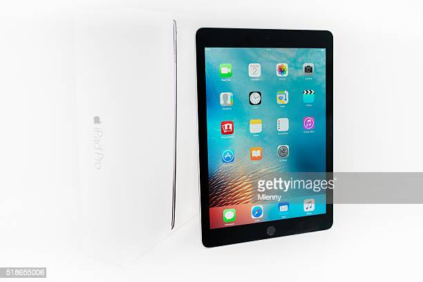 "apple ipad pro 9.7"" spacegrey with original box - tilt stock pictures, royalty-free photos & images"