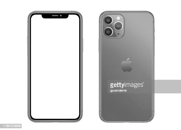 apple iphone 11 pro gray smartphone - smart phone stock pictures, royalty-free photos & images