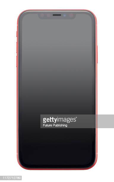Apple iPhone 11 smartphone with a Red finish, taken on September 24, 2019.