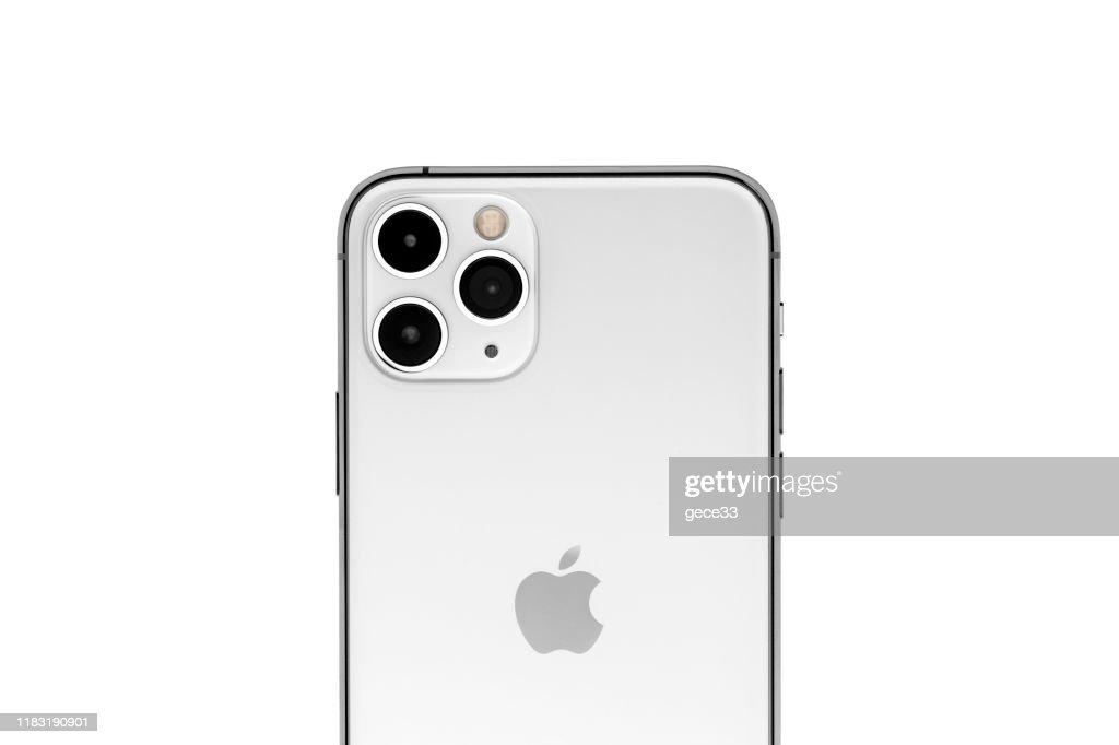 アップルのiPhone 11proシルバーホワイトブランクスクリーンと背面ビュー : ストックフォト