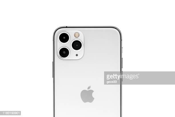 アップルのiphone 11proシルバーホワイトブランクスクリーンと背面ビュー - 数字の11 ストックフォトと画像