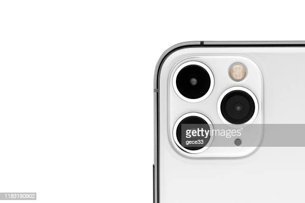 apple iphone 11pro silver white blank screen and rear view - 11 stock pictures, royalty-free photos & images