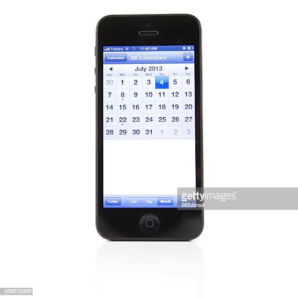apple iphone 4 - calendar date for 4th of july - calendar icon stock photos and pictures
