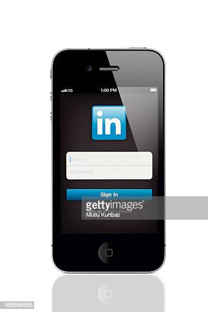 Apple iPhone 4 und LinkedIn Login-Bildschirm