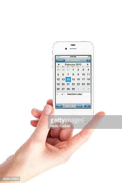 apple iphone 4s with calendar - calendar icon stock photos and pictures