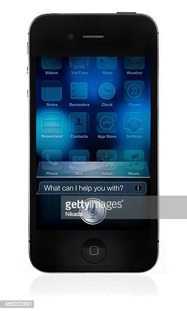 apple iphone 4s with siri - siri mobile app stock pictures, royalty-free photos & images