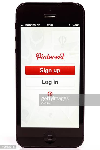 Apple iPhone 5 Pinterest Login Screen Isolated on White Background