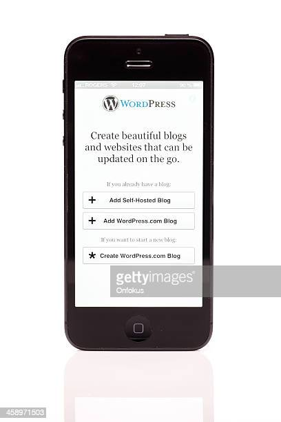 Apple iPhone 5 WordPress Login Screen Isolated on White Background