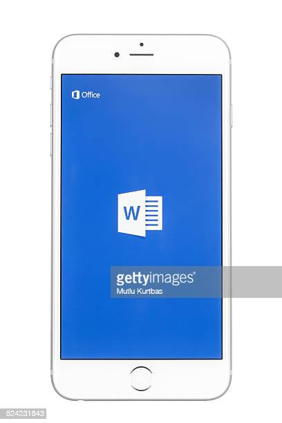 apple iphone 6 plus showing the microsoft word app screen - single word stock pictures, royalty-free photos & images