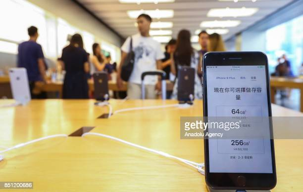 Apple iPhone 8 are displayed for sale at the Apple store on September 22 2017 in Hong Kong China Apple's iPhone 8 and iPhone 8 Plus went on sale in...