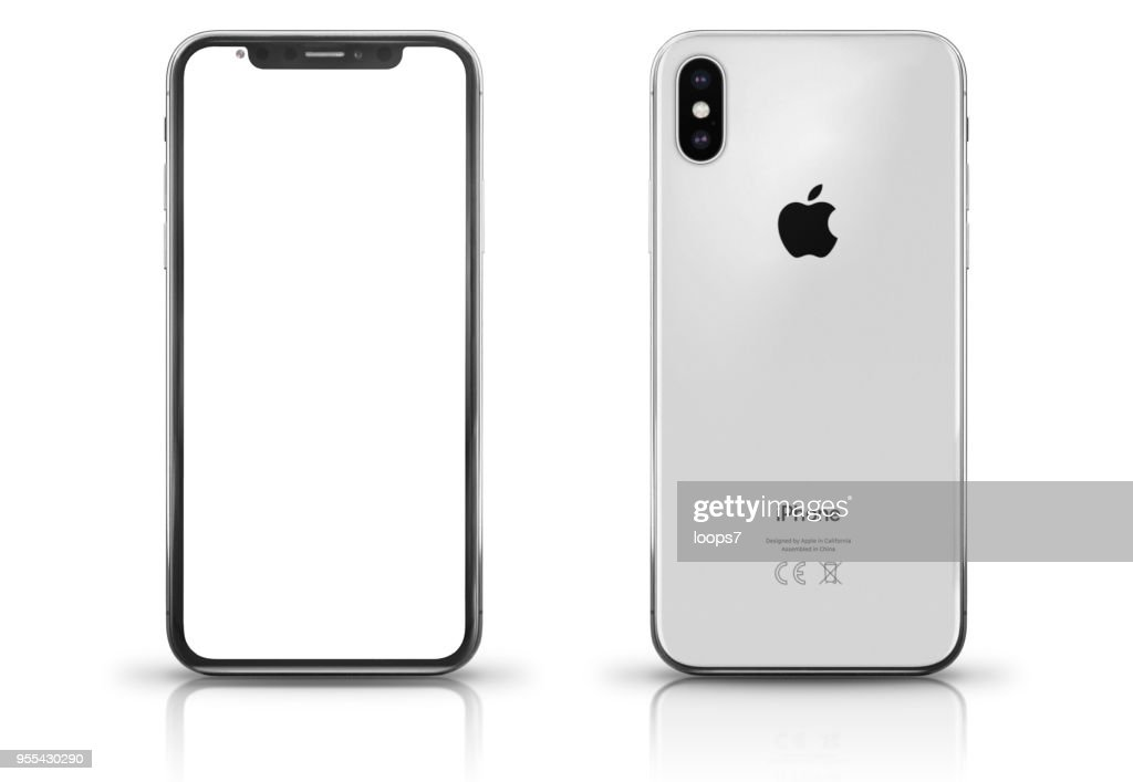 Apple iPhone X Silver Front and Rear View : Stock Photo
