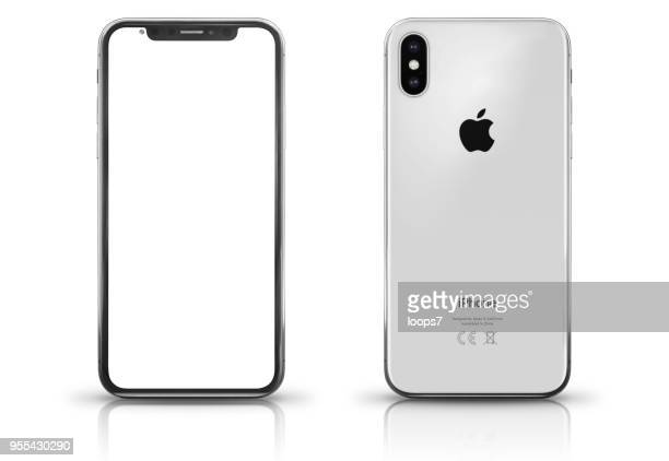 Apple iPhone X Silver Front and Rear View