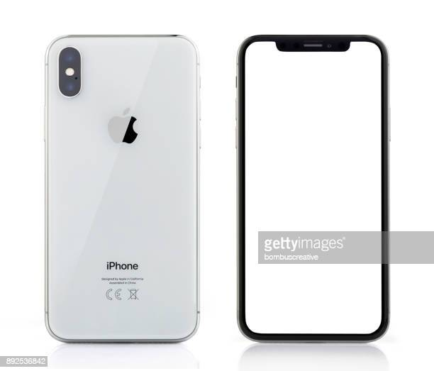 Apple iPhone X Silver White Blank Screen and Rear view