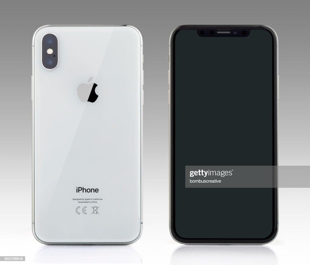 アップルの iPhone X シルバー ホワイト空白の画面と背面図 : ストックフォト