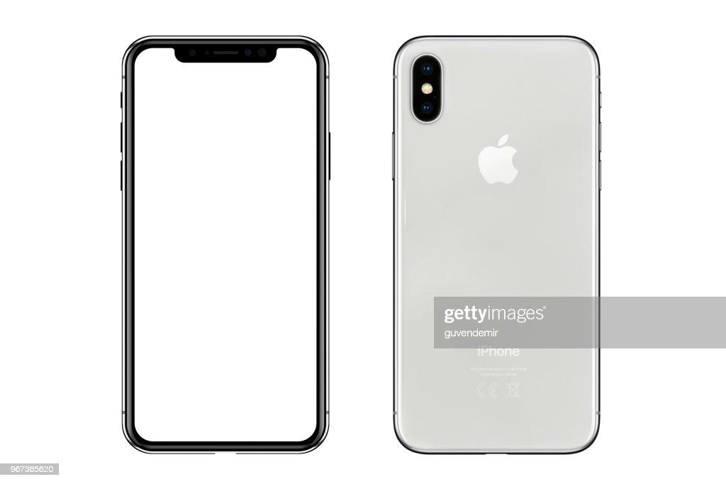 Apple iPhone X prata branco tela em branco e vista traseira : Foto de stock