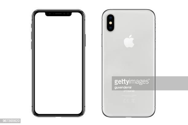 apple iphone x silver white blank screen and rear view - template stock pictures, royalty-free photos & images