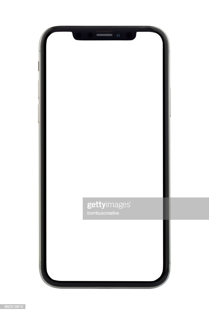 Apple iPhone X Silver White Blank Screen : Stock Photo