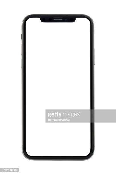 apple iphone x silver white blank screen - template stock pictures, royalty-free photos & images