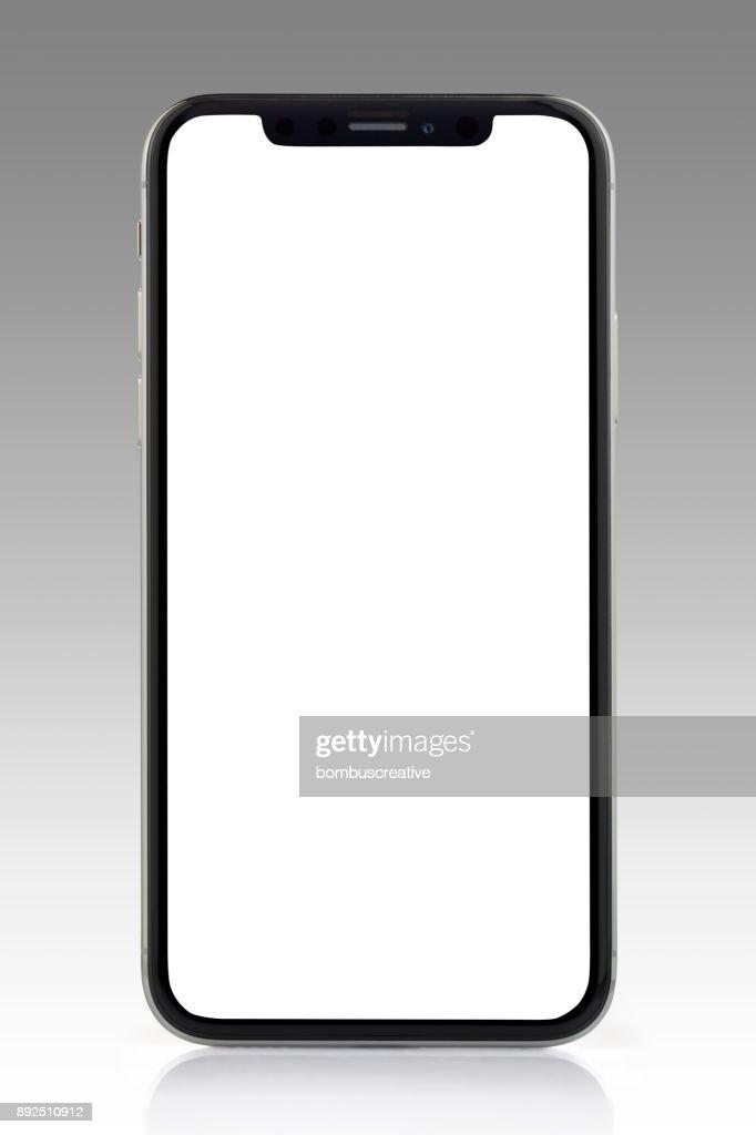 Apple の iPhone の X シルバー ホワイト空白の画面 : ストックフォト