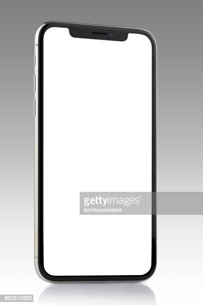 apple iphone x silver white blank screen - iphone mockup stock pictures, royalty-free photos & images