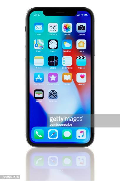 apple iphone x space grey home screen - x photos stock photos and pictures