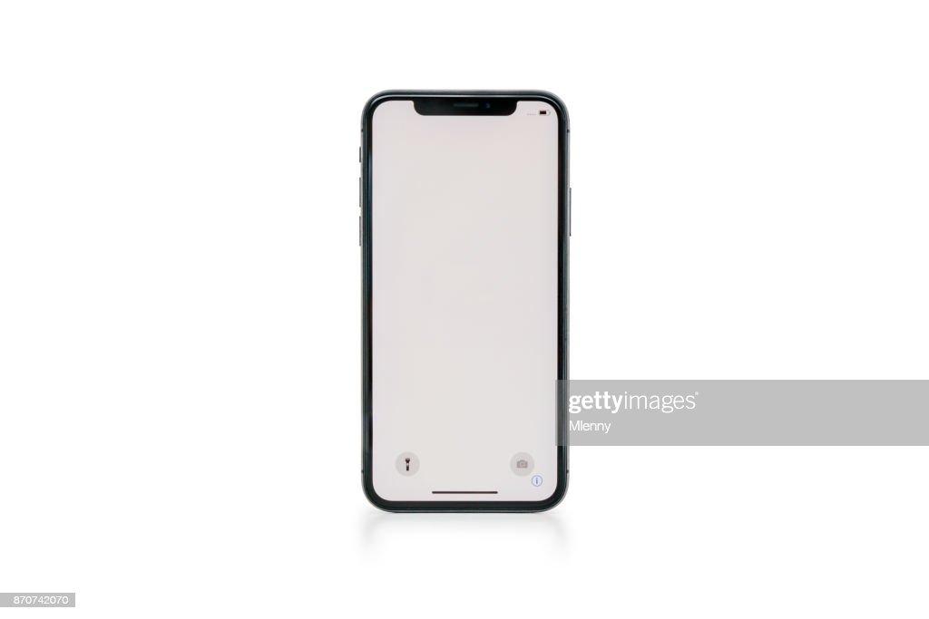 Apple の iPhone の X スペース グレー白空白の画面 : ストックフォト