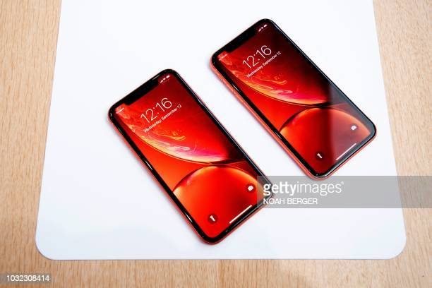 Apple iPhone Xr models rest on a table during a launch event on September 12 in Cupertino California New iPhones set to be unveiled Wednesday offer...