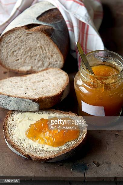 Apple jam bottle with bread