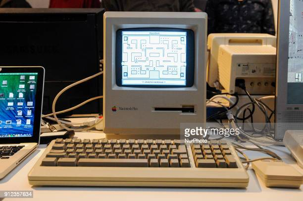 A Apple Macintosh Plus computer is seen running a version of the famous PacMan game Warsaw Poland during the Retroapple 02 meetup on January 28 2018