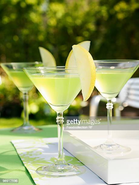 Apple martinis on table, close-up