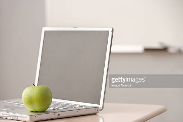 Apple on a laptop computer