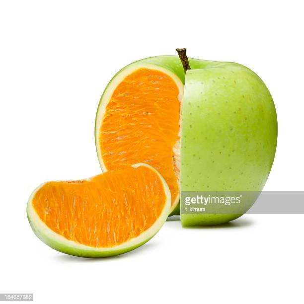 apple orange - apple fruit stock photos and pictures