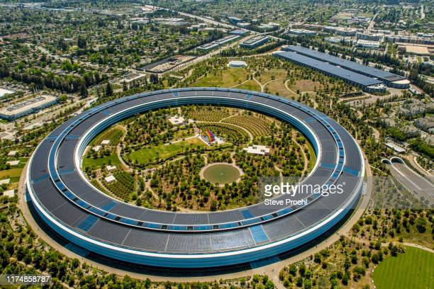 apple park headquarters - apple park stock pictures, royalty-free photos & images