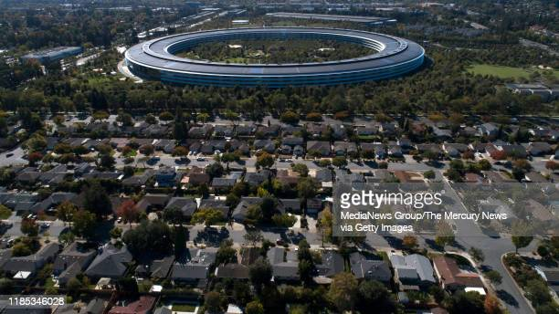 Apple Park's spaceship campus is seen from this drone view in Sunnyvale, Calif., on Monday, Oct. 21, 2019.
