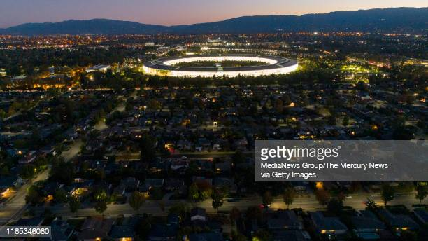 OCTOBER 22 Apple Park's spaceship campus is seen from this drone view in Sunnyvale Calif on Monday Oct 22 2019