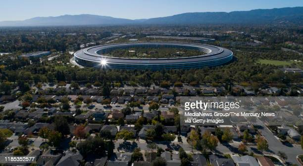 OCTOBER 21 Apple Park's spaceship campus is seen from this drone view in Sunnyvale Calif on Monday Oct 21 2019