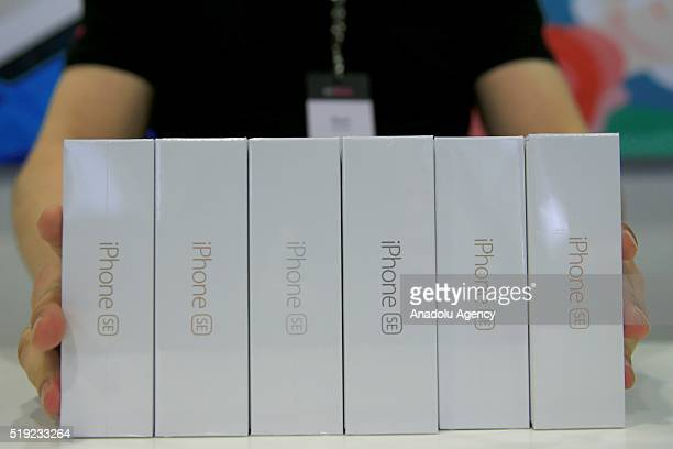 Apple phone SE are seen at a shop after Apple launched new iPhone in Moscow Russia on April 5 2016