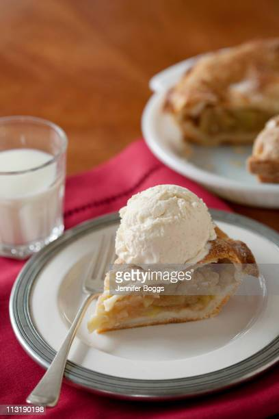 Apple pie al a mode with glass of milk