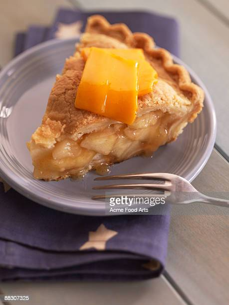 apple pie and cheddar cheese - cheddar cheese stock photos and pictures
